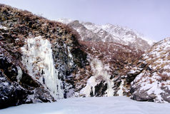 Waterfall of Altai. Winter. Stock Images