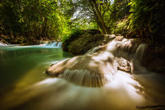 Waterfall. Amazing beautiful cascade cataract clean cool creek current emerald Stock Photography