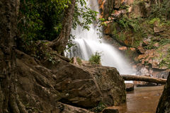 Waterfall amongst the Rocks. Beautiful waterfall located in the interior of Brazil Royalty Free Stock Images