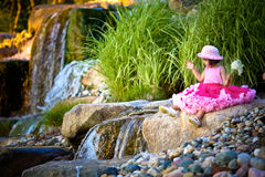Waterfall And A Child Stock Photography