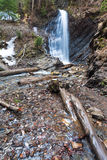 Waterfall And Brook In Mountain Forest Ravine Royalty Free Stock Image