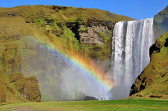 Waterfall And Rainbow, Skogafoss Iceland Royalty Free Stock Photography