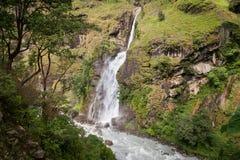 Waterfall in Annapurna range, Himalaya, Nepal Royalty Free Stock Images