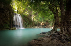Waterfall ans sunlight beams and rays shine through leaves Stock Photo