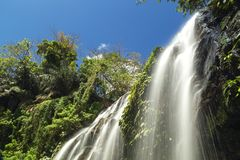 Waterfall in Antipolo province, Philippines. From below royalty free stock image