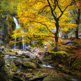 Waterfall in the autumn-3 Stock Photos