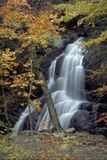Waterfall in Autumn. Flowing water cascading down rocks admidst fall-colored trees Stock Photo