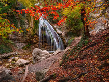 Waterfall in the autumn. In the Crimea Stock Images