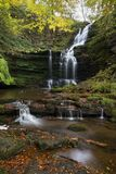 Scaleber Portrait. A waterfall in autumn in the Dales National Park Stock Image