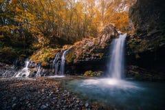 Waterfall with autumn foliage in Fujinomiya, Japan royalty free stock images