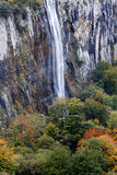 Waterfall in autumn forest. Waterfall of Ason river in the Miera valley (Northern Spain Stock Images