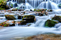 Waterfall in the autumn forest Stock Photos