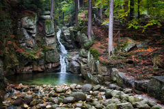 Waterfall in Autumn Forest of Karkonosze Mountains Royalty Free Stock Image