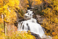Waterfall in Autumn, in forest of North Carolina, near Highlands Royalty Free Stock Image
