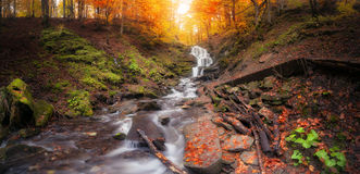 Waterfall at autumn forest. Panorama of waterfall at autumn forest stock image
