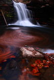 Waterfall and autumn leaves. Waterfalls and autumn leaves among the rocks in the whirlpool Stock Photo
