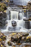 Waterfall with autumn leaves Royalty Free Stock Image