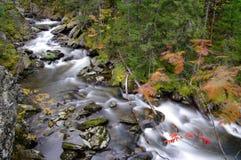 Waterfall in Autumn setting stock photo