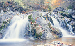 Waterfall in autumn time and woods Royalty Free Stock Photography