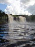Waterfall Axe. Waterfall falling on the Canaima Lagoon, in the great Venezuelan Sabana Royalty Free Stock Photo