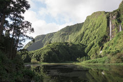 Waterfall. On the azores islands stock photography