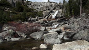 Waterfall In Background Small Stream Over Rocks. Waterfall Top Of Chilnualna Trail Small Stream Over Granite Rocks Yosemite California stock video footage