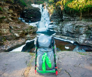 Waterfall Backpack Stock Images