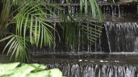 Waterfall in Bangkok temple, Thailand. Clip stock footage