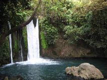Waterfall at the Banias national park stock photos