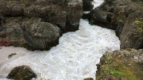 Waterfall Barnafoss in Iceland. The upper reaches of the waterfall Barnafoss near Husafell in west Iceland stock video