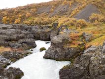 Waterfall Barnafoss. = `Children waterfall`. In which, according to a legend, two children drowned Stock Photos