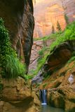 Waterfall Barrier. Zion Orderville Canyon Stock Photo