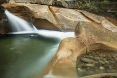Waterfall at The Basin granite pothole, White Mountains, New Ham Stock Photos