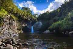 Waterfall of Bassin La Mer, Reunion Island. Waterfall of Bassin La Mer at Reunion Island during a sunny day Royalty Free Stock Photography