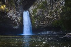 Waterfall of Bassin La Mer, Reunion Island. Waterfall of Bassin La Mer at Reunion Island during a sunny day Stock Image