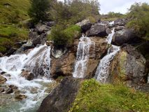 Waterfall. The beauitiful Waterfall in the mountains Stock Photos