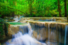 Waterfall beautiful (erawan waterfall) in kanchanaburi province, Stock Images