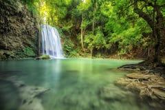Waterfall beautiful (erawan waterfall) Stock Photos