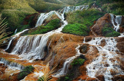 Waterfall. Beautiful Golden waterfall in Taiwan Stock Image