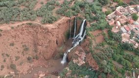 Waterfall and Beautiful Nature of Morocco at Ouzoud Falls by Drone from above stock footage