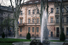 Waterfall in beautiful square in Zagreb Stock Image