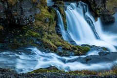 Waterfall and beautiful view at the kirkjufell mountain in iceland europe royalty free stock photo