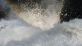 Waterfall and beautifull rainbow. stock footage