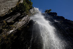 Waterfall from below Stock Images
