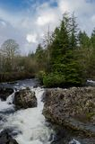 Waterfall in Betws Y Coed. Beautiful river scene with trees on a small island and a waterfall in the foreground at the village of Betws Y Coed in North Wales royalty free stock photo