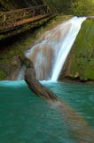 Waterfall and big beam. Lazarevskoe, Sochi, Russia Royalty Free Stock Photography