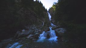 Waterfall. A big waterfall in slow motion stock footage
