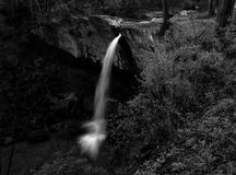 Waterfall in Black and White.  Royalty Free Stock Photos