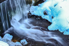 Waterfall blue ice Royalty Free Stock Photography