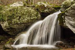 Waterfall in the Blue Ridge Mountains of Virginia, USA. Peaceful mountain waterfall located in Jefferson National Forest of Virginia, USA Stock Photo